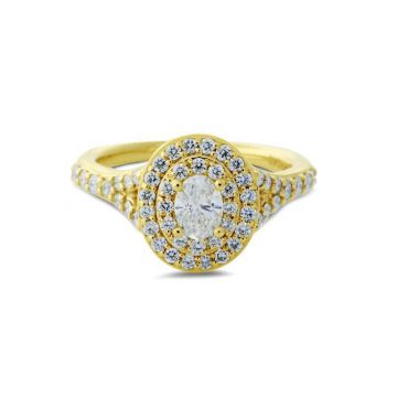 Malakan 14k Yellow Gold Double Halo Diamond Engagement Ring