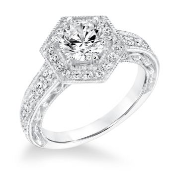 Goldman 14k White Gold 0.50ct Diamond Semi Mount Engagement Ring