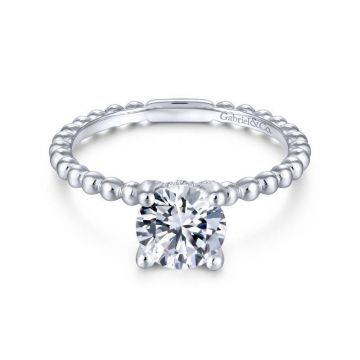 Gabriel & Co. 14k White Gold Contemporary Solitaire Engagement Ring