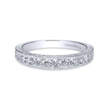 Gabriel & Co. 14k White Gold Victorian Diamond Wedding Band