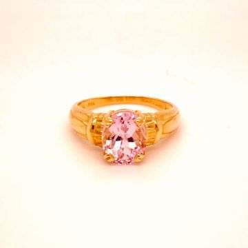 Woman's 14k Yellow Gold Oval Kunzite (10x8) Estate Ring.