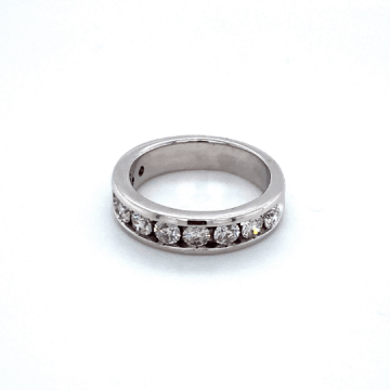 Woman's One Carat 14k White Gold Estate Diamond Band.