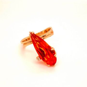 Woman's 14k Yellow Gold Handmade Estate Synthetic Orange Pear Sapphire.