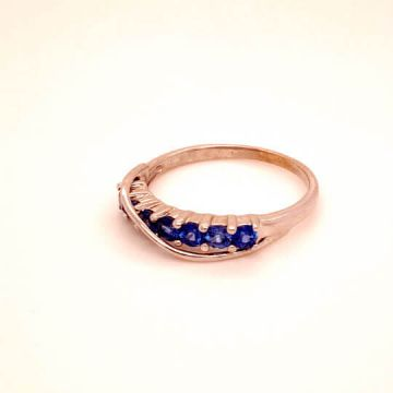 Woman's 10k White Gold Blue Sapphire Estate Ring.