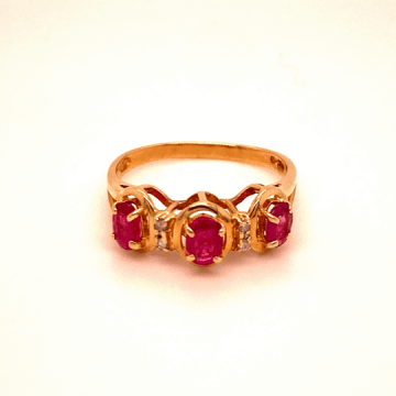 Woman's 14k Yellow Gold Three Oval Ruby Ring.