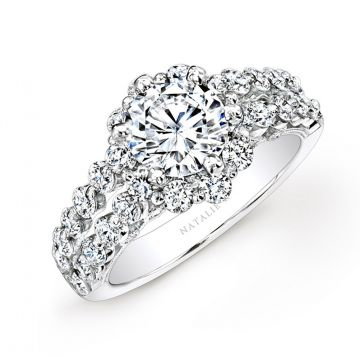 18k White Gold Double Row Shank Diamond Engagement Ring