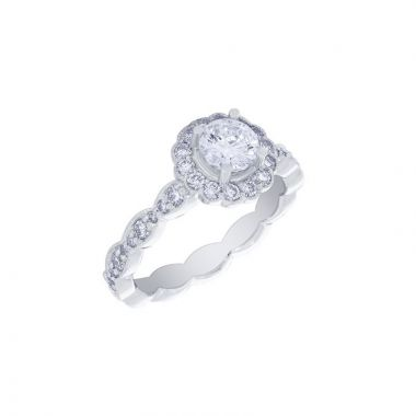 Malakan 14k White Gold Halo Diamond Engagement Ring