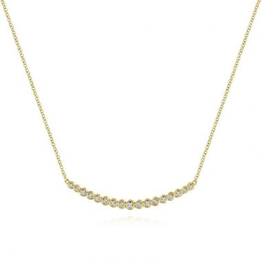 Gabriel & Co. 14k Yellow Gold Lusso Diamond Bar Necklace