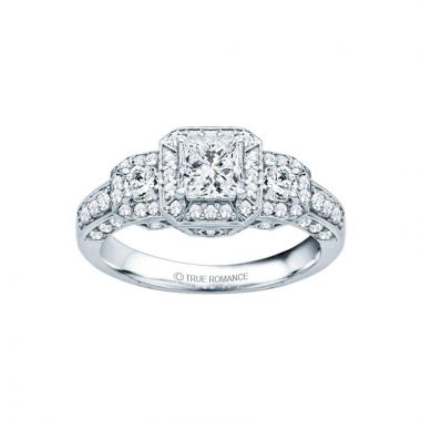 True Romance 14k White Gold 0.91ct Diamond Vintage Style Semi Mount Engagement Ring
