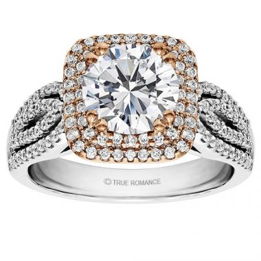 True Romance 14k White Gold Halo Engagement Ring