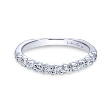 Gabriel & Co. 14k White Gold Contemporary Diamond Wedding Band