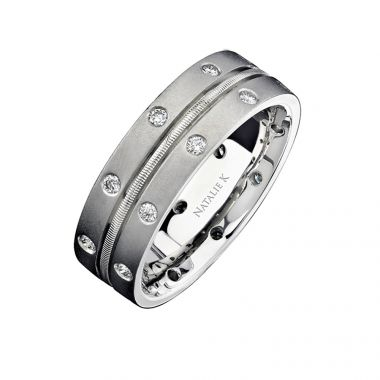 14k White Gold Bezel Round Diamond Men's Band