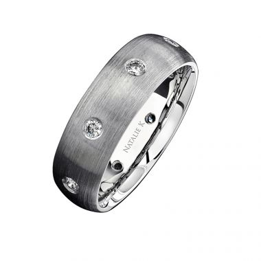 14k White Gold Bezel Finished Diamond Men's Band