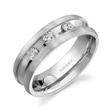 14k White Gold Deep Channel Three Stone Diamond Men's Band