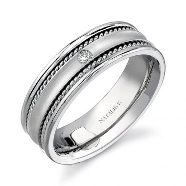 14k White Gold Bezel Rope Trim Diamond Men's Band