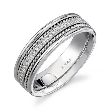 14k White Gold Rope Detail Pave Diamond Men's Band