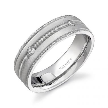 14k White Gold Five Stone Prong Diamond Men's Band