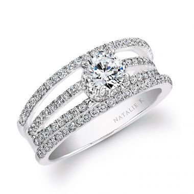 18k White Gold Split Shank Pave Diamond Semi Mount Engagement Ring