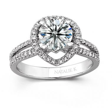 18k White Gold Micro Pave Halo Diamond Engagement Ring with Split Shank
