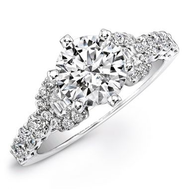 18k White Gold Half Moon Prong Diamond Engagement Semi Mount Ring