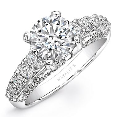 18k White Gold Large Prong Diamond Semi Mount
