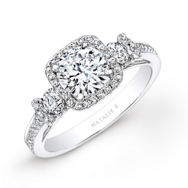 14k White Gold Square Halo White Diamond Engagement Ring