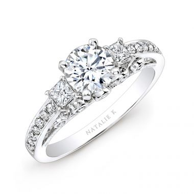 18k White Gold Pave Prong and Bezel Round Diamond Engagement Ring with Side Stones